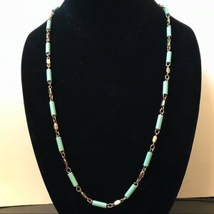 J Crew mint and gold long hanging necklace
